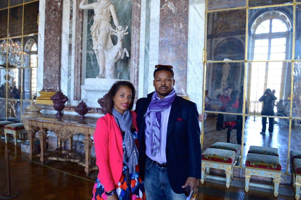 After  being scolded by the guard about my tripod I asked another visitor take our photo together inside the Mirrored Hall of Palace Versailles